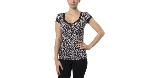 Dámske čierno-biele leopardie tričko s krátkymi rukávmi Vive Maria