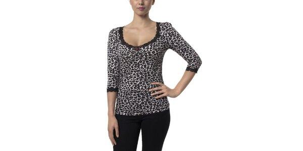 Dámske čierno-biele leopardie tričko Vive Maria