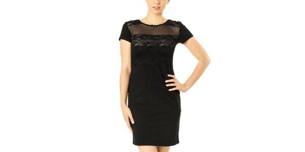 Dámske čierne šaty s čipkovou vsadkou Vive Maria