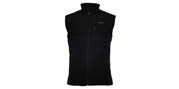 Pánska čierna softshellová vesta Envy s potlačou