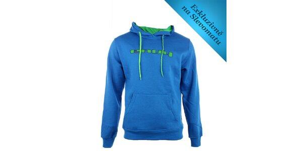 Pánska modrá mikina Envy so zeleným logom