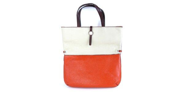 Dámska kožená oranžovo-biela kabelka Belle & Bloom