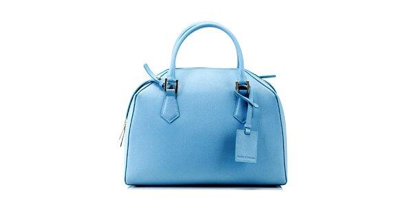 Dámska blankytno modrá kožená kabelka Belle & Bloom