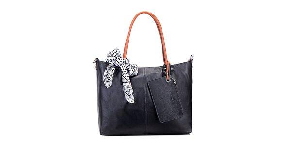 Dámska čierna kožená kabelka s hnedými ušami Belle & Bloom