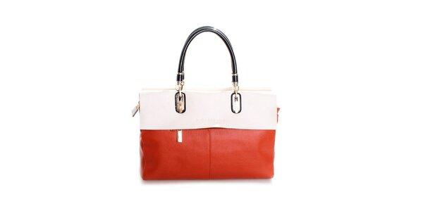 Dámska oranžovo-smotanová kožená kabelka Belle & Bloom