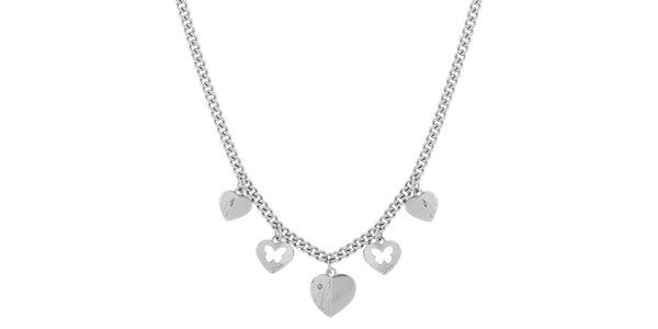 Dámsky oceľový náhrdelník so srdiečkami Guess