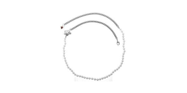 Dámsky elegantný náhrdelník s perličkami Guess