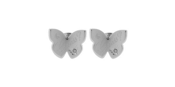Dámske strieborné náušnice v tvare motýľa Guess