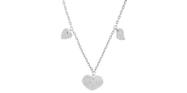 Dámsky náhrdelník s tromi srdiečkami Guess