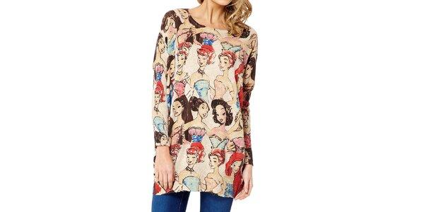 Dámsky béžový sveter s dámami Miss Jolie