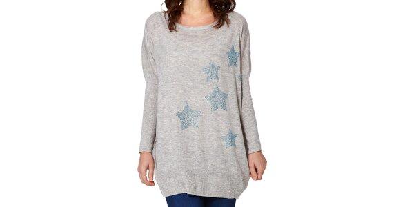 Dámsky šedý sveter s hviezdičkami Miss Jolie