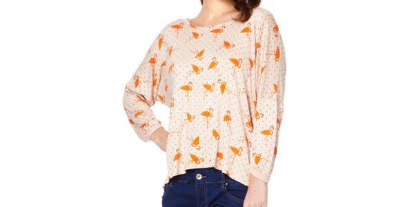 Dámske tričko s oranžovými plameniakmi Miss Jolie