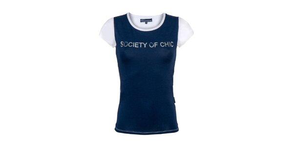 Dámske bielo-modré tričko s nápisom Giorgio di Mare