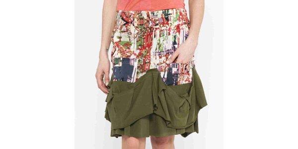 Dámska vzorovaná sukňa so zelenými volánikmi Mahal