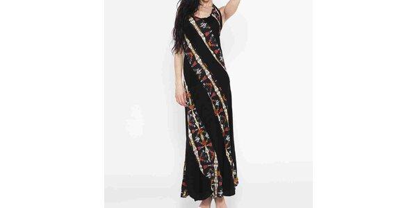 Dámske dlhé čierne šaty s farebným vzorom Mahal