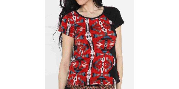Dámske tričko s krátkym rukávom a farebným vzorom Mahal