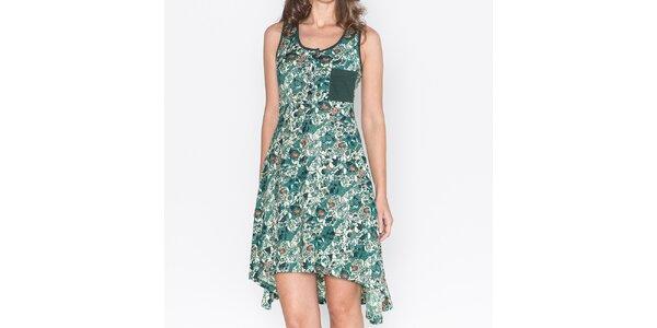 Dámske zelené šaty s asymetrickou sukňou Mahal