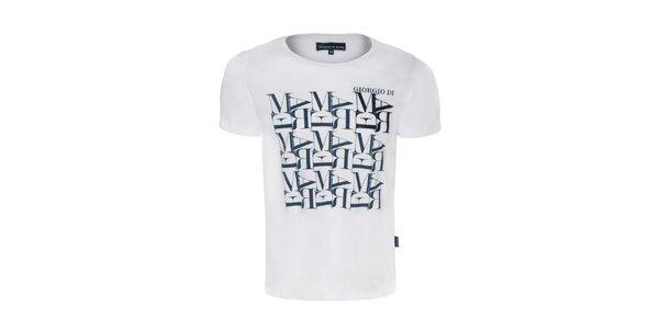 Pánske biele tričko s potlačou Giorgio di Mare