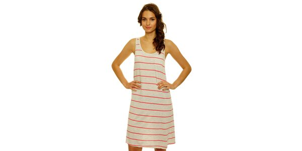 Dámske melírované šaty s ružovým prúžkom Nice Things