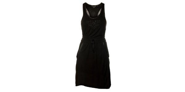 Dámske čierne šaty Guess s korálkami