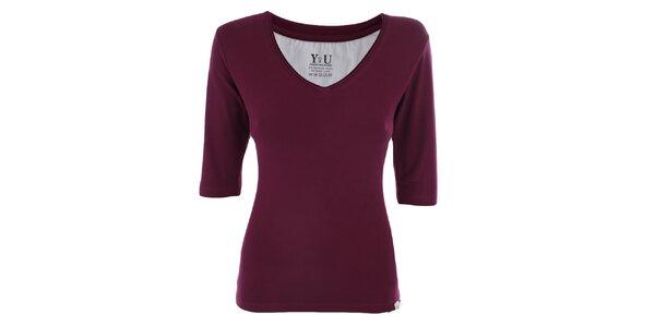 Dámske černicové tričko s véčkovým výstrihom YU Feelwear