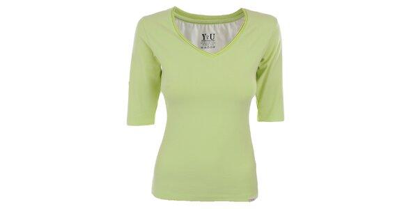 Dámske limetkové tričko s véčkovým výstrihom YU Feelwear
