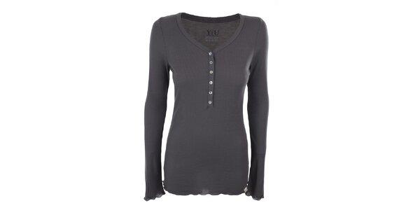 Dámske šedé rebrované tričko YU Feelwear