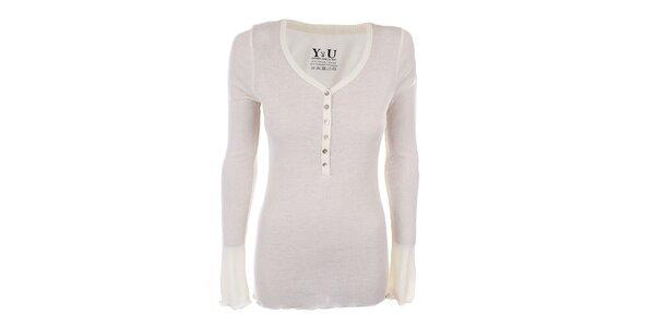 Dámske krémovo biele rebrované tričko YU Feelwear
