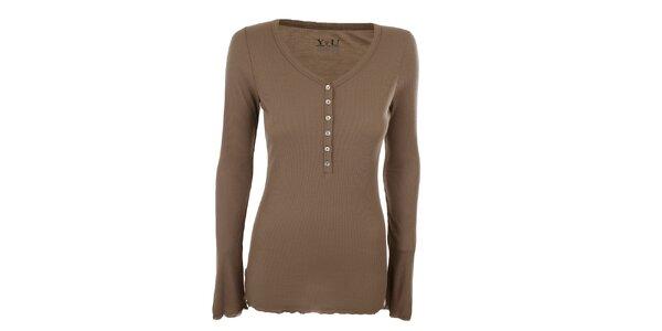 Dámske hnedé rebrované tričko YU Feelwear