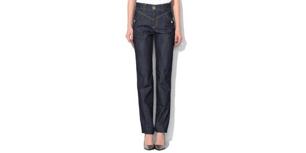 Dámske modré džínsy so širším pásom Roccobarocco