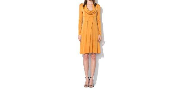 Dámske tmavo žlté šaty Roccobarocco