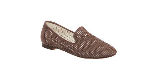 Dámske hnedé perforované loafers Keddo