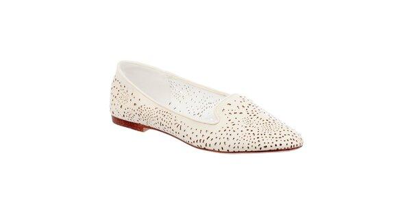 Dámske perforované krémovo biele loafers Keddo