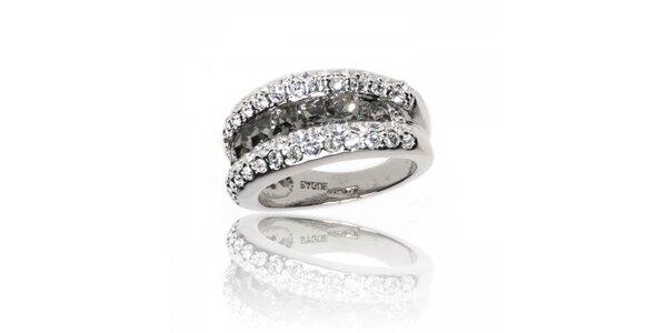 Dámsky strieborný prsteň Bague a Dames s kryštálmi