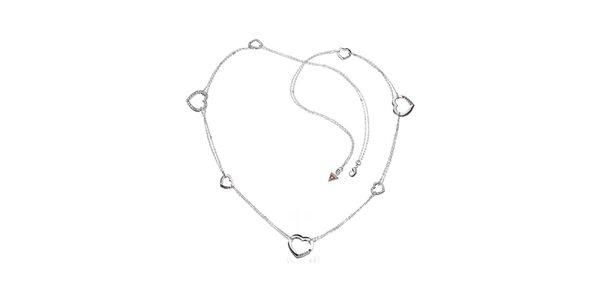 Dámsky oceľový náhrdelník Guess so srdiečkami