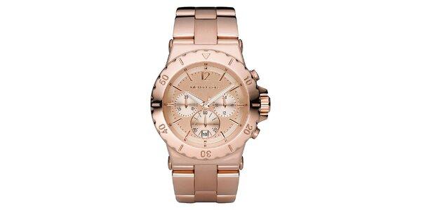 Dámske hodinky s chronografom vo farbe ružového zlata Michael Kors