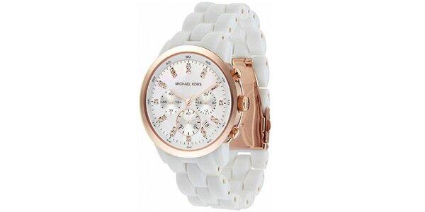 Dámske biele hodinky s perleťovým ciferníkom a chronografom Michael Kors