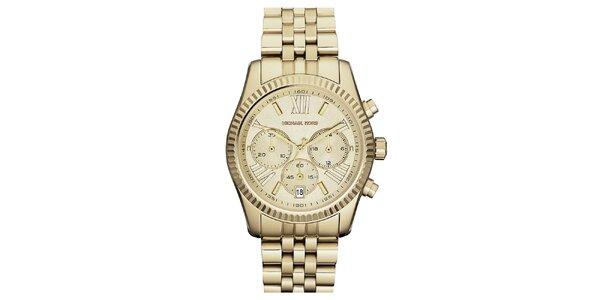 Dámske hodinky s chronografom a dátumovkou v zlatom prevedení Michael Kors