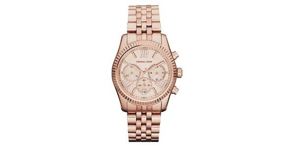 Dámske ocelové hodinky vo farbe ružového zlata Michael Kors