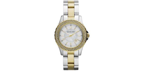 Dámske hodinky z ušľachtilej ocele s pozlátením a zirkónmi Michael Kors