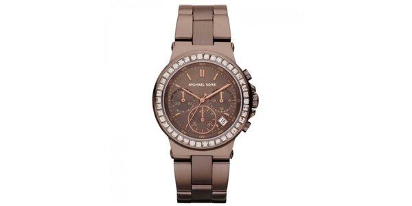 Dámske hnedé hodinky s chronografom Michael Kors