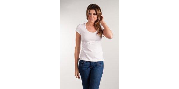 Dámske biele tričko Calvin Klein okrúhly výstrih