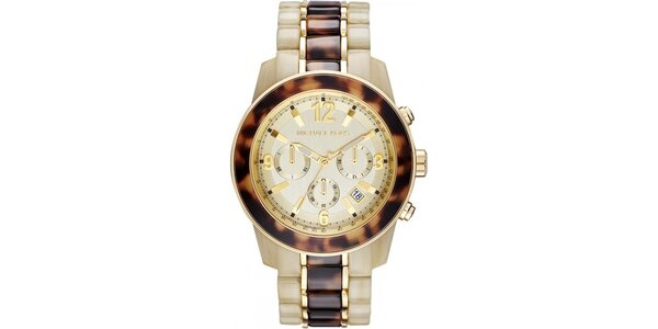 Dámske béžovo-hnedé hodinky s chronografom Michael Kors
