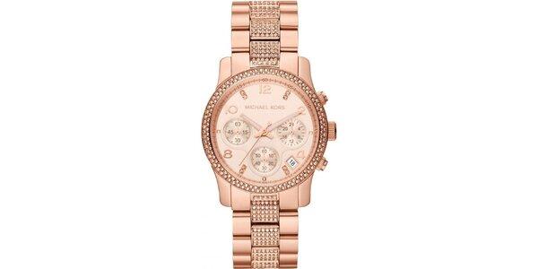 Dámske pozlátené ocelové hodinky Michael Kors s kryštálikmi okolo ciferníku a…