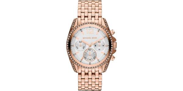 Dámske hodinky vo farbe ružového zlata s dátumovkou a chronografom Michael Kors