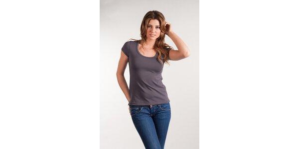 Dámske šedé tričko Calvin Klein okrúhly výstrih