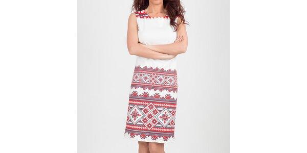 Dámske biele šaty s aztéckym vzorom Chaser