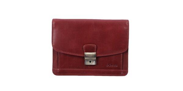 Pánska bordó kožená taška s kovovým zámčekom Mercucio