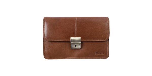 Pánska hnedá kožená taška s kovovým zámčekom a pútkom Mercucio