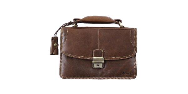 Pánska hnedá kožená taška s pútkom Mercucio